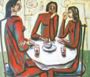 The Three Women In Red, 2005, oil on canvas, 60x70