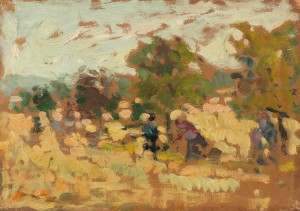 Picking Apples, 1958, oil on cardboard, 21x29.5