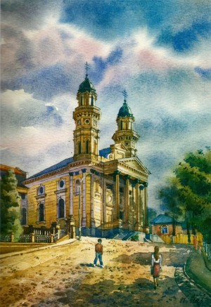 Holy Cross Cathedral 1997 watercolour