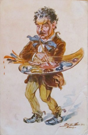 Self-portrait, 1922, caricature, (Munich)