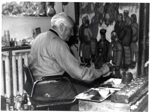 A. Kotska In the studio (From the archive of Yu. Nebesnyk)
