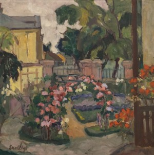 In the Garden, 1930-1940s, oil on canvas