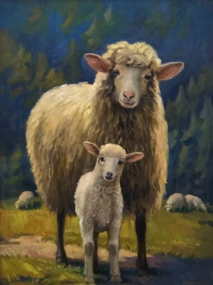 'Sheep With Lamb', 2014, oil on canvas, 65x45