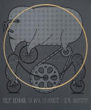 Ровер вважають за щось несамовите і звуть люципером, 2014, п. акр. вишивка, 120х100