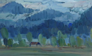 Twilight, 1962, gouache, 32x50
