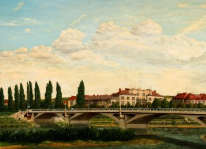 View Of The Bridge And Rafanda, 1985, oil on cardboard, 73x100
