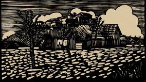 Мукачівський пейзаж, 1938, пап.лінорит, 14х24,5