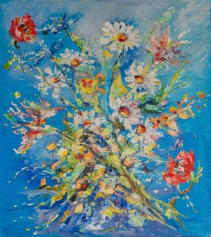 K. Studzynska 'Wildflowers', oil on canvas