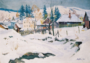 Winter Dusk (Volovets Village), 1961, oil on canvas, 69x99
