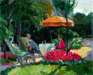 Відпочинок в саду, 1930, п.о.