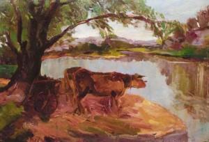 Oxen near pond