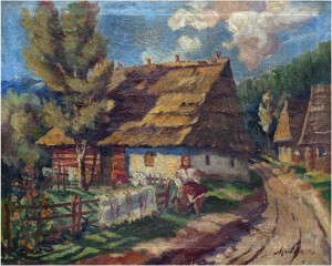 In Front Of A Rural Hut, 1946, oil on canvas, 56x70