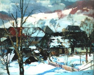 Village in winter, 1963, п.о., 79,5х99,5