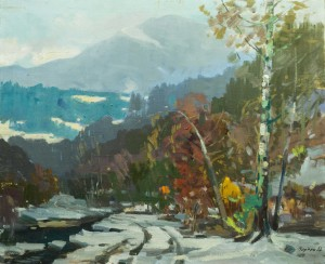 The First Snow, the 1960s, oil on canvas, 74x90
