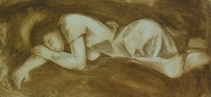 A Sleeping Woman', 1987, etching on paper, 12x25,5