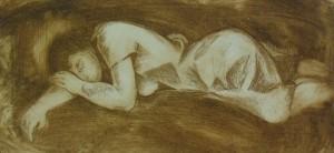 'Спляча', 1987, пап.офорт., 12х25,5