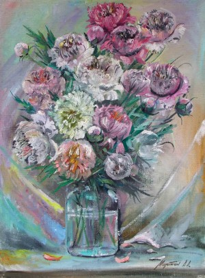Peonies, the 1970s, oil on canvas, 80x60