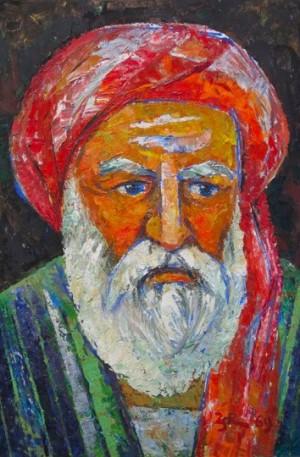 An Old Man In Red Turban', 1969, 69.5х49.5