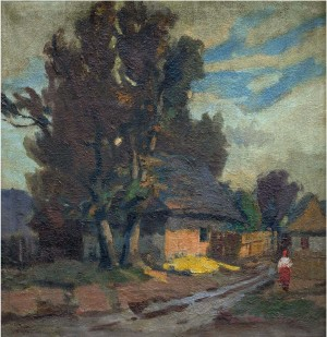 On The Village Road, the 1940s, oil on canvas, 97,5x97