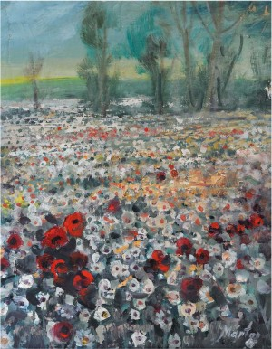 Field With Poppies And Camomiles, the 1980s, oil on canvas, 55x43