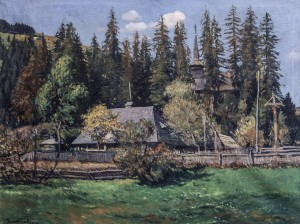 Scenery With Wooden Church, 1934, oil on canvas, 67x88