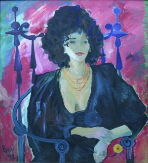 Olia, from the photo archive of Y. Nebesnyk, 1992, oil on canvas, 100x90
