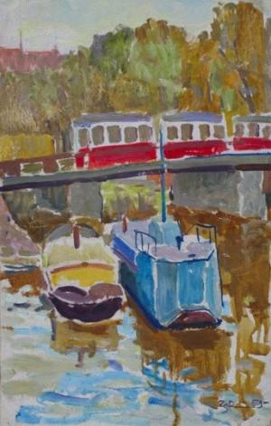 'Трамвай на мості', 1959, 41х28