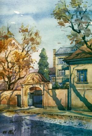 Gates in Voloshyn street,37 1996 watercolour