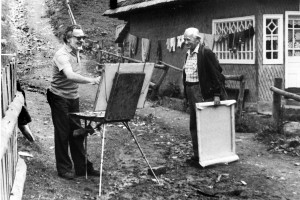 In the plein air (Synevyr pass, Stryhalnia village), 1988