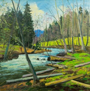 Forest Stream, 1990, oil on canvas, 75x75
