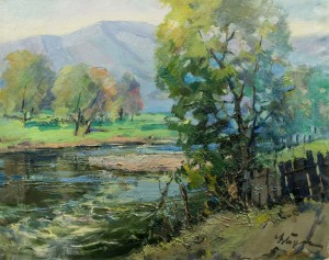 Scenery With River, 1970s, oil on canvas, 61x77