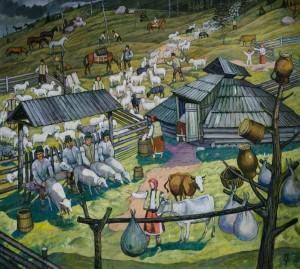 Полонинські турботи. Доїння овець, 2013, п.т., 90х100