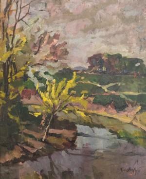 Scenery, 1920s, oil on cardboard