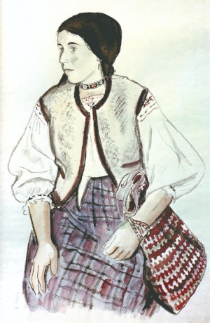 Woman With A Bag, 1937, watercolour on paper, 55,4х37,1
