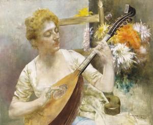 Дівчина з мандоліною, п.о., 33х41