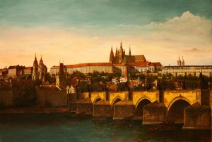 View Of Prague Castle, 1991, oil on canvas, 110x160