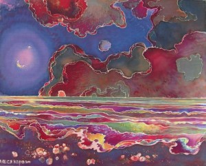 Sea. Night, 2010, cold batik, 50х60