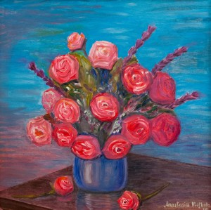 'Roses In A Blue Vase', 2018, oil on masonite, 61x61