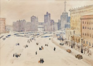 V. Pobiedin 'Dzerzhynskoho Square, Kharkiv', the end of the 1950s, watercolour on paper, 19x27