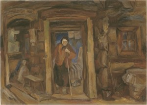 On the Doorstep, 1990, oil on canvas,  50х70