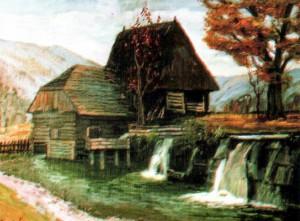 Водяний млин с.Пилипець, 1987, 60х80