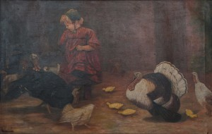 S. Silvai A Girl With Turkeys', oil on canvas