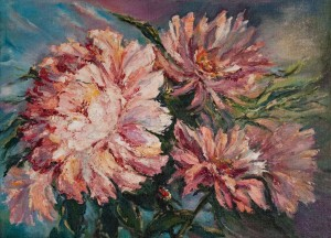 K. Studzynska 'Peonies', oil on canvas