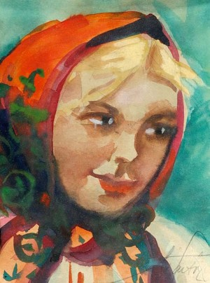 Portrait Of A Girl In The Shawl, watercolour on paper, 16x12