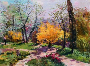 A Part Of Botanical Garden In Uzhhorod, 1963, oil on canvas, 67х89