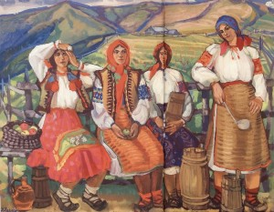 On Polonyna (Young Women From Bohdan Village), 1960-2003, tempera on canvas, 124x160