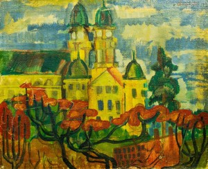 A View Of The Cathedral, 1980, oil on canvas, 56x69