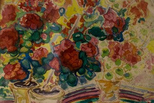 Still Life With Flowers, 1950, watercolour on canvas, 19,5х28