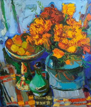 Marigolds, 2010, oil on canvas