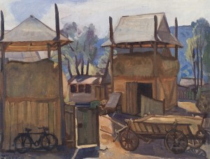 Sheds. Hutsul Farm, 1986, oil on canvas, 72x97